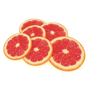 3D model citrus orange fruit slice