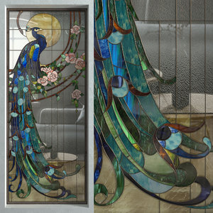 stained glass peacock window 3D model