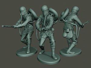 german soldier ww1 action 3D