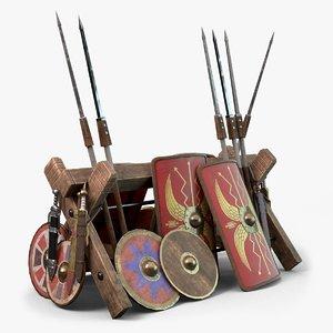 roman legion weapon rack 3D
