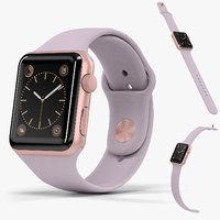 Apple Watch Rose Gold Aluminum Case Lavender Sport Band