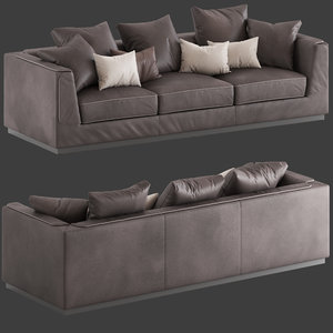 3D model flou gentelman 3-seater sofa