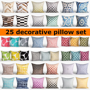 25 decorative set pillow 3D model