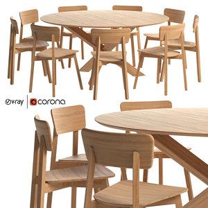 3D oak casale dining chair model