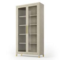 Restoration Hardware Graydon Shagreen Glass Double-Door Cabinet