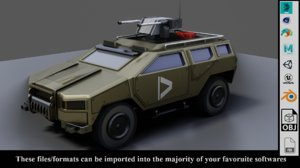 armored car military vehicle 3D