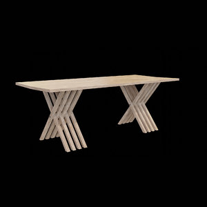 table wood wooden 3D model