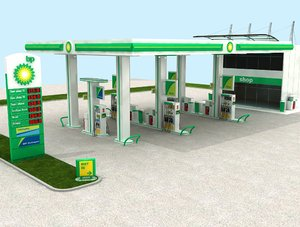 3D model british petrol gasoline station