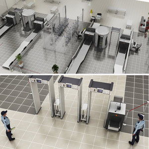 realistic airport security 3D