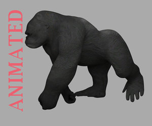 3D model walking cycle king kong