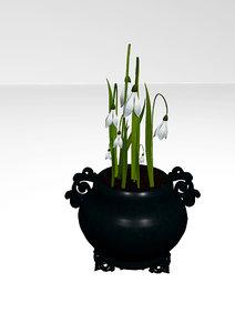 snowdrop pot 3D model