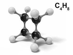 cyclobutane molecule c4h8 modeled 3D