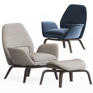 gilliam armchair ottoman set 3D