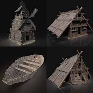 aaa viking village pack 3D