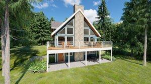 3D model hillside a-frame house