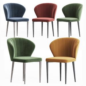 harper velvet dining chair 3D