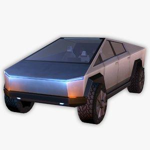tesla cybertruck interior truck 3D model