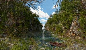landscape river nature 3D