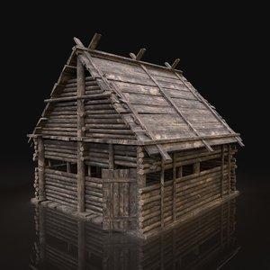 3D gen aaa forest log cabin