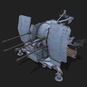3D model anti-aircraft flak flakvierling