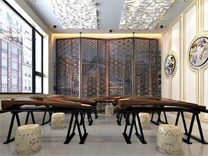 3D model interior guzheng classroom partition