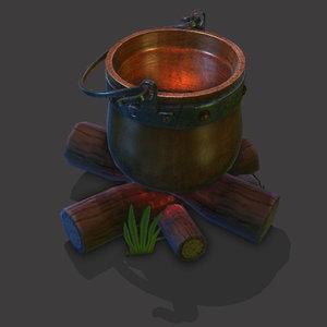 logs cauldron 3D model