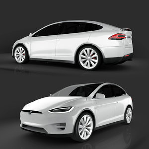 tesla x modeled 3D model
