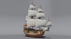 hms prince rate ship 3D