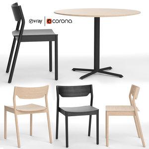 3D tangerine chair morison table