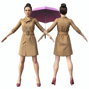 girl umbrella 3D model