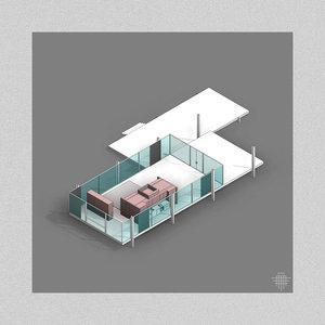 3D farnsworth house mies van model