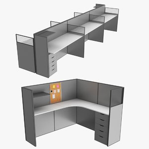 real office cubicles 3D model