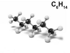 hexane molecule c6h14 modeled 3D model