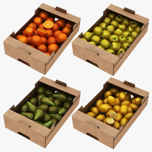 fruit cardboard box 1 3D model