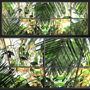 stained glass tropical leaves model