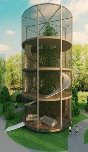 3D glass park model
