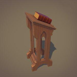 gothic lectern 3D