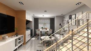 interior loft apartment designed 3D