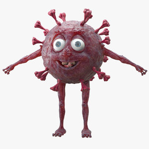 cartoon virus covid-19 3D model
