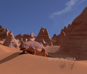 3D prehistoric lizard