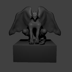 3D model gargoyle deteriorated