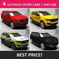 4 US Police Sport Cars Taxi Car HQ Texture