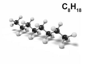 octane c8h18 modeled 3D model
