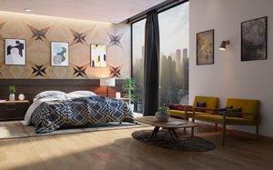 3D scene interior design realistic