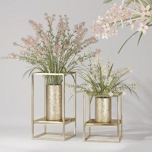 3D interior flower lilacs vase model