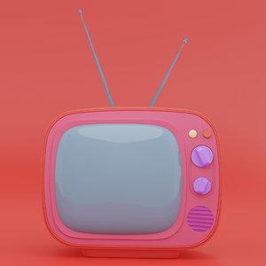 retro tv receiver television 3D model