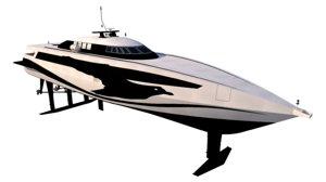 3D passenger hydrofoil boat model