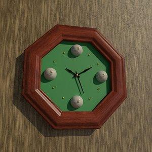 octagon billiard wall clock model