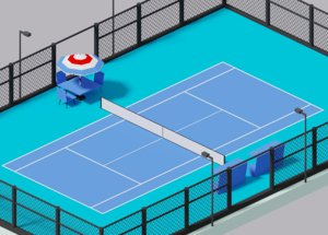 3D cartoon simple tennis court model