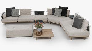 3D eden corner sofa roda